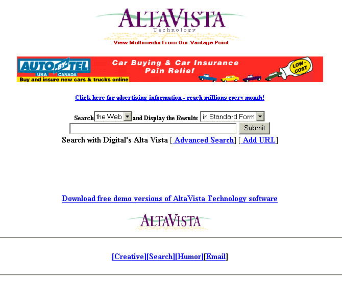 Alta Vista, which used to be the search engine, 1996.